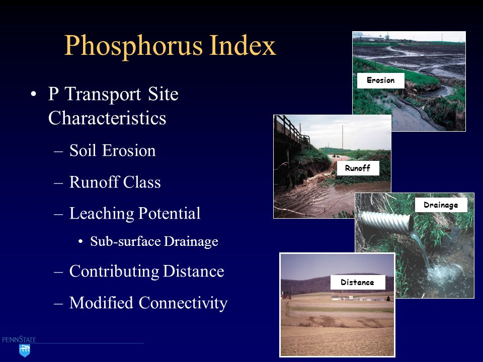 Phosphorus Index P Transport Site Characteristics –Soil Erosion –Runoff Class –Leaching Potential Sub-surface Drainage –Contributing Distance –Modifie