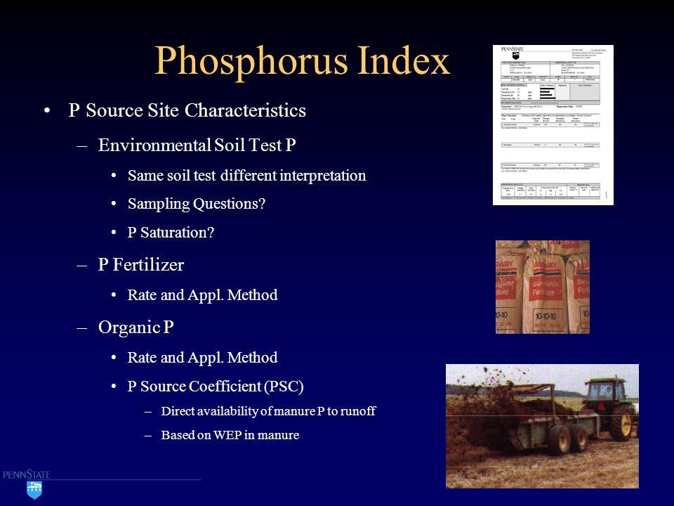Phosphorus Index P Source Site Characteristics –Environmental Soil Test P Same soil test different interpretation Sampling Questions.