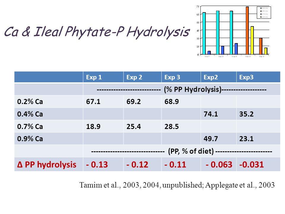 Ca & Ileal Phytate-P Hydrolysis Tamim et al., 2003, 2004, unpublished; Applegate et al., 2003 Exp 1Exp 2Exp 3Exp2Exp3 --------------------------- (% PP Hydrolysis)------------------- 0.2% Ca67.169.268.9 0.4% Ca74.135.2 0.7% Ca18.925.428.5 0.9% Ca49.723.1 ------------------------------- (PP, % of diet) ------------------------ Δ PP hydrolysis- 0.13- 0.12- 0.11 - 0.063-0.031
