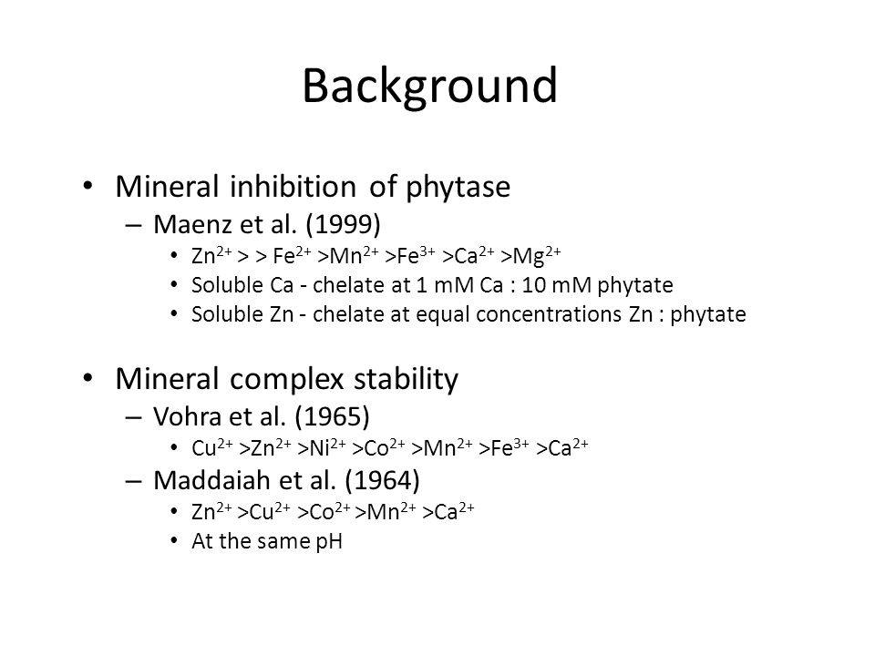 Cation Inhibition of Phytate Hydrolysis* Maenz et al., 1999 * mM mineral conc. for 50% inhibition