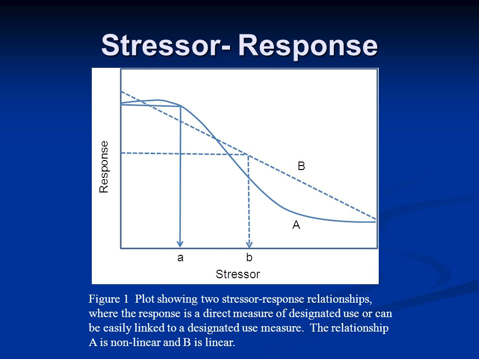 Figure 1 Plot showing two stressor-response relationships, where the response is a direct measure of designated use or can be easily linked to a desig