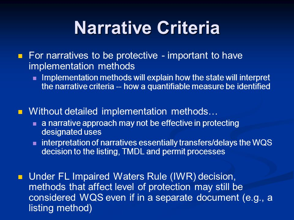 For narratives to be protective - important to have implementation methods Implementation methods will explain how the state will interpret the narrat