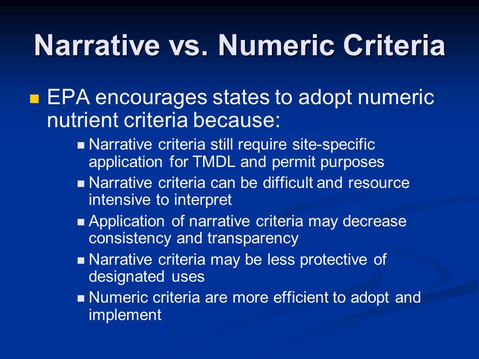 Narrative vs. Numeric Criteria EPA encourages states to adopt numeric nutrient criteria because: Narrative criteria still require site-specific applic