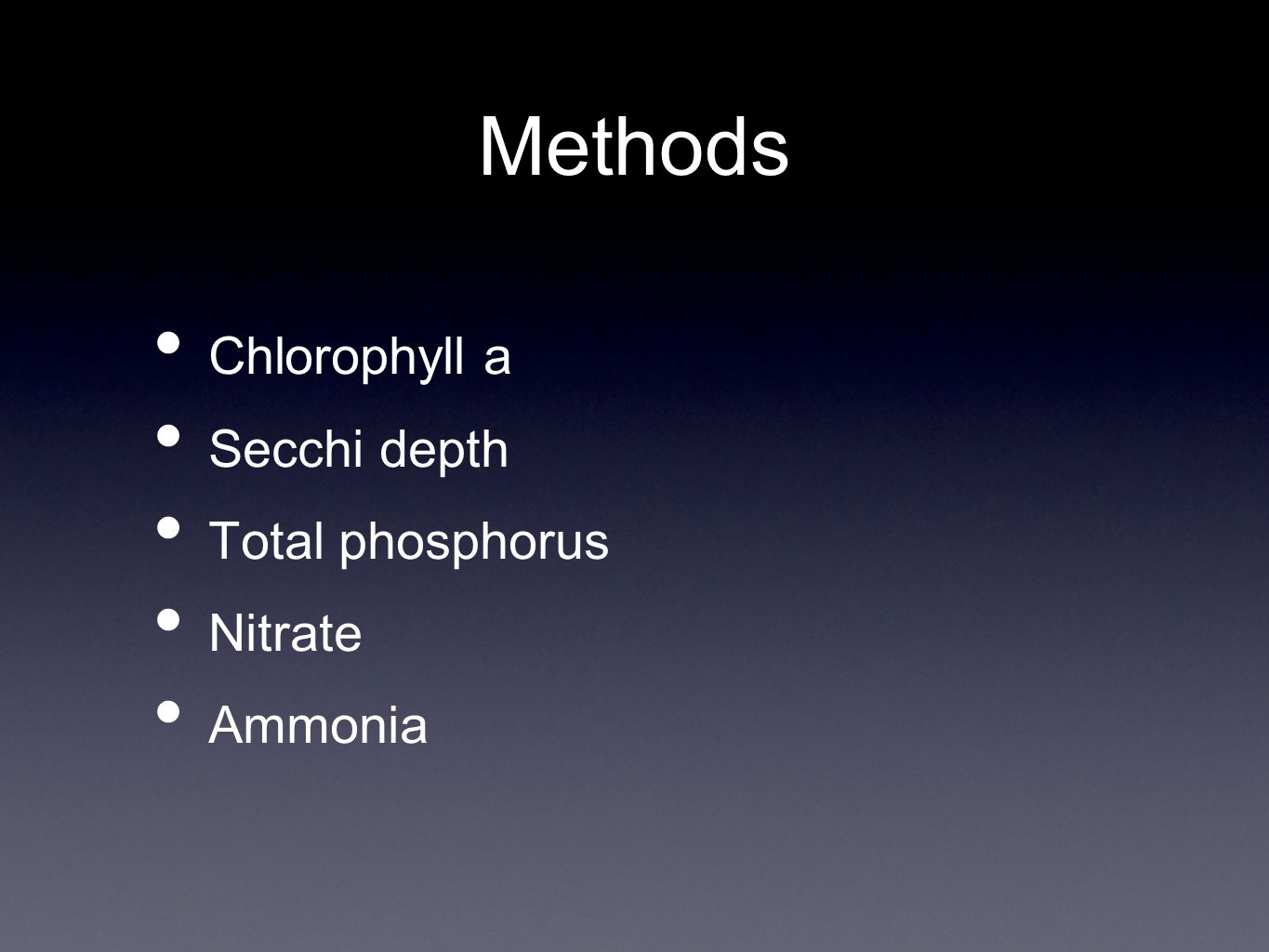 Methods Chlorophyll a Secchi depth Total phosphorus Nitrate Ammonia