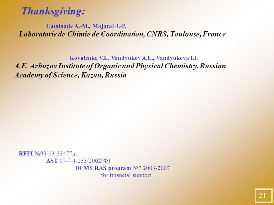 Thanksgiving: Сaminade A.-M., Majoral J.-P.