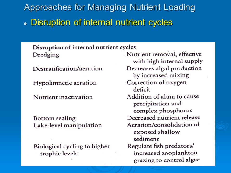 Approaches for Managing Nutrient Loading Disruption of internal nutrient cycles Disruption of internal nutrient cycles