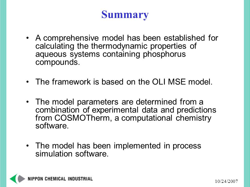 10/24/2007 Summary A comprehensive model has been established for calculating the thermodynamic properties of aqueous systems containing phosphorus compounds.
