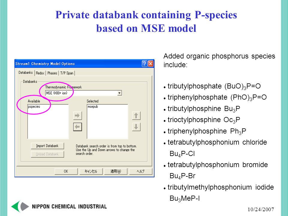 10/24/2007 Private databank containing P-species based on MSE model Added organic phosphorus species include: tributylphosphate (BuO) 3 P=O triphenylphosphate (PhO) 3 P=O tributylphosphine Bu 3 P trioctylphosphine Oc 3 P triphenylphosphine Ph 3 P tetrabutylphosphonium chloride Bu 4 P-Cl tetrabutylphosphonium bromide Bu 4 P-Br tributylmethylphosphonium iodide Bu 3 MeP-I