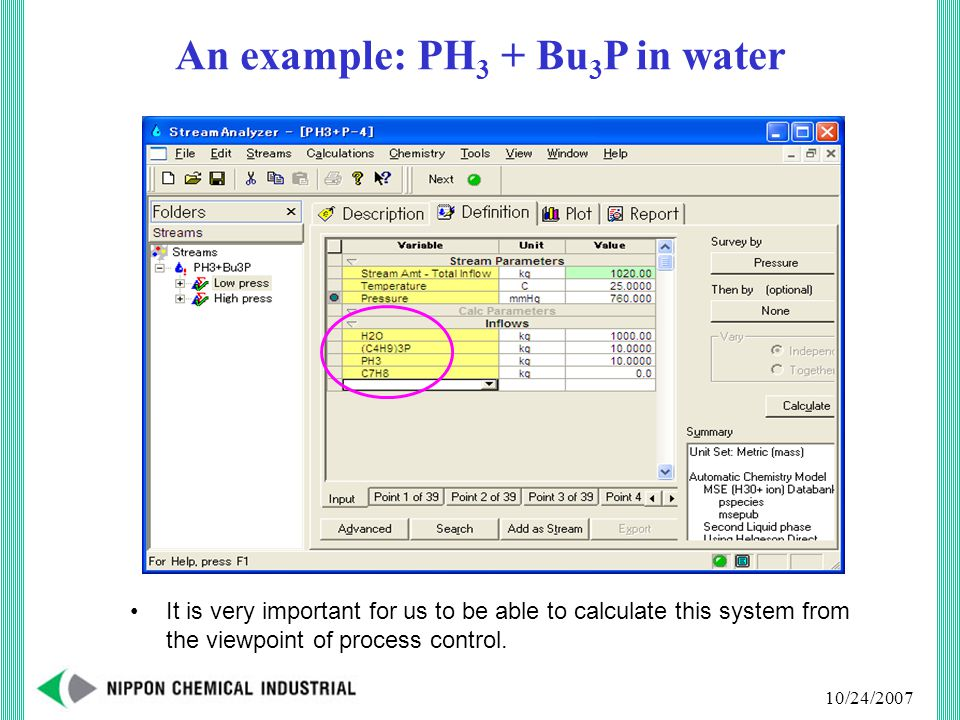 10/24/2007 An example: PH 3 + Bu 3 P in water It is very important for us to be able to calculate this system from the viewpoint of process control.