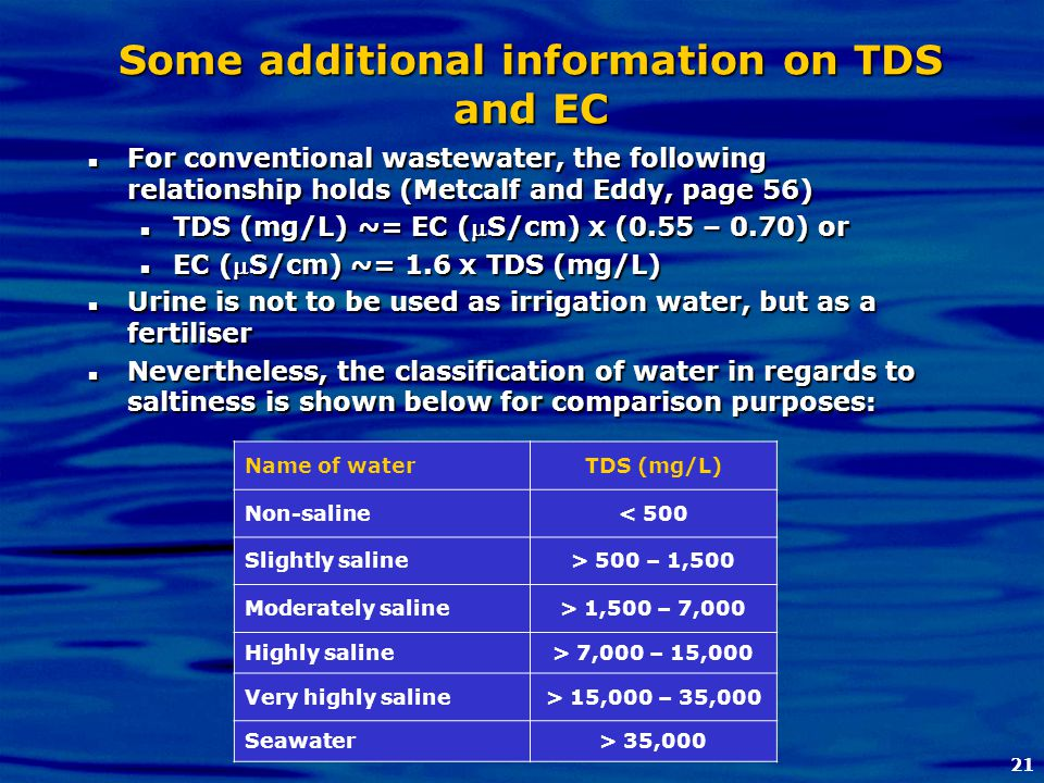 21 Some additional information on TDS and EC For conventional wastewater, the following relationship holds (Metcalf and Eddy, page 56) For conventiona