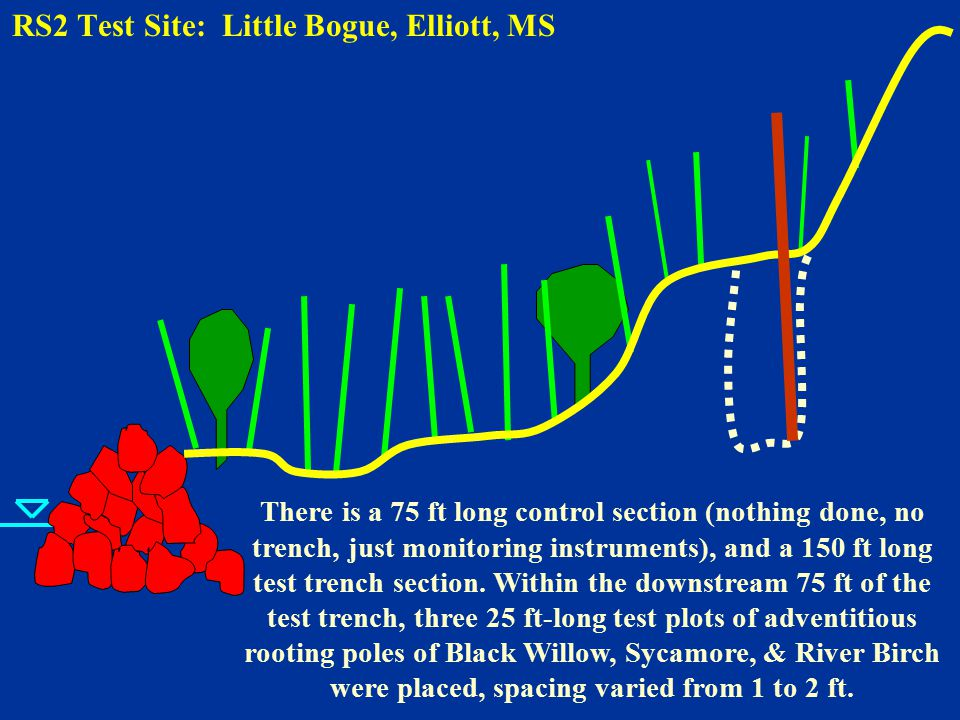 RS2 Test Site: Little Bogue, Elliott, MS There is a 75 ft long control section (nothing done, no trench, just monitoring instruments), and a 150 ft long test trench section.