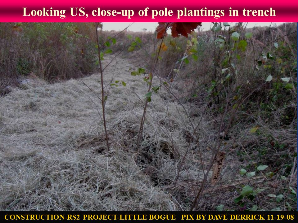 Looking US, close-up of pole plantings in trench CONSTRUCTION-RS2 PROJECT-LITTLE BOGUE PIX BY DAVE DERRICK 11-19-08