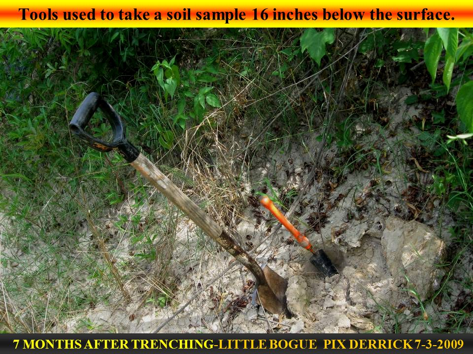 Tools used to take a soil sample 16 inches below the surface.