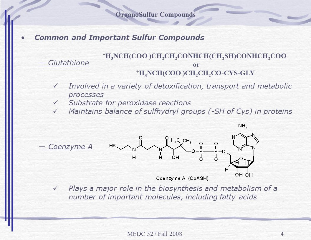 MEDC 527 Fall 20084 OrganoSulfur Compounds + H 3 NCH(COO - )CH 2 CH 2 CONHCH(CH 2 SH)CONHCH 2 COO - or + H 3 NCH(COO - )CH 2 CH 2 CO-CYS-GLY Common and Important Sulfur Compounds — Glutathione Involved in a variety of detoxification, transport and metabolic processes Substrate for peroxidase reactions Maintains balance of sulfhydryl groups (-SH of Cys) in proteins — Coenzyme A Plays a major role in the biosynthesis and metabolism of a number of important molecules, including fatty acids