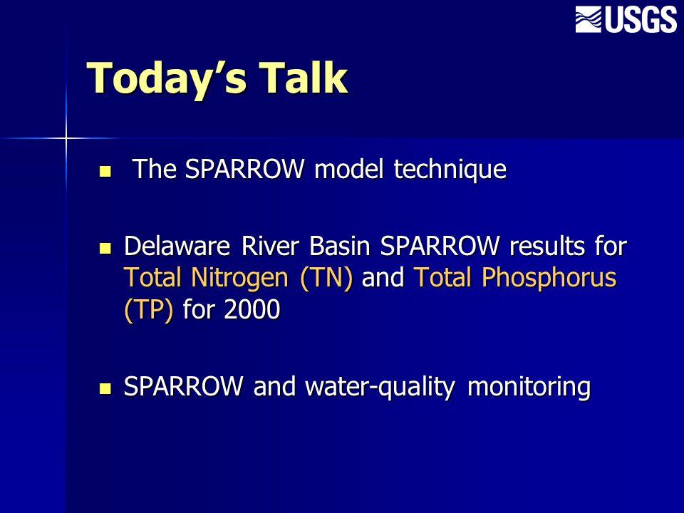 Delaware River Basin SPARROW Model Points of Contact Mary Chepiga 609-771-3955 mchepiga@usgs.gov Susan Colarullo 609-771-3922 colarull@usgs.gov Jeff Fischer 609-771-3953 fischer@usgs.gov US Geological Survey Delaware NAWQA