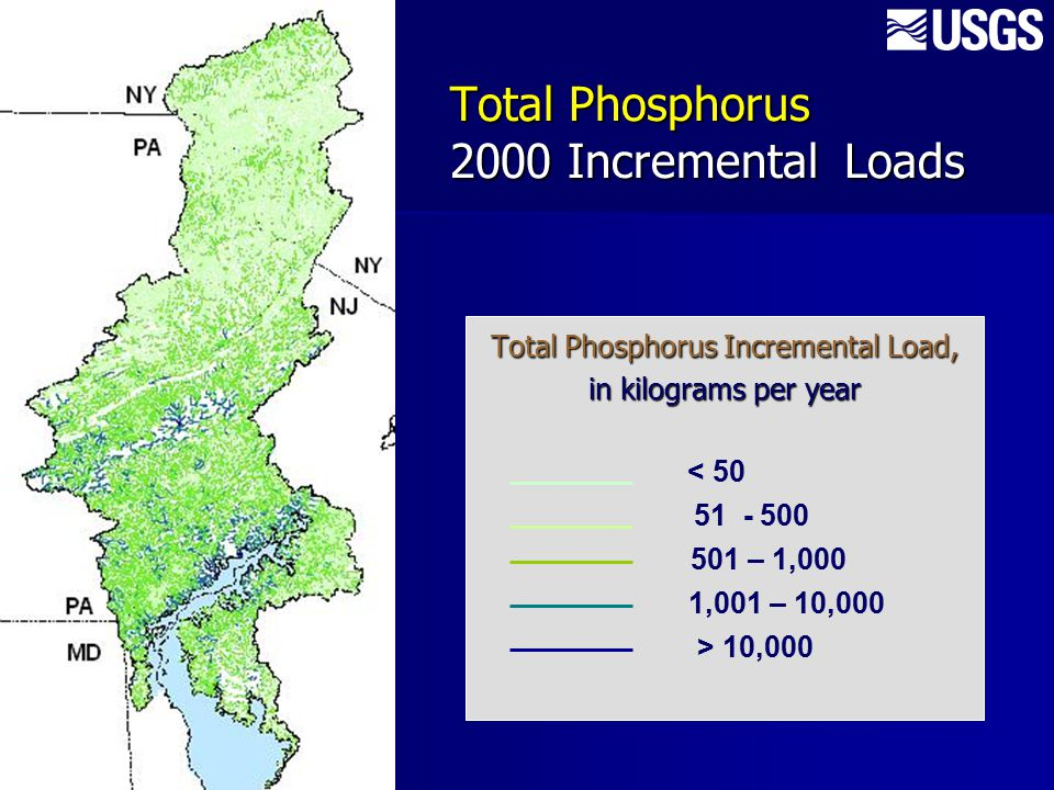 Total Phosphorus Incremental Load, in kilograms per year Total Phosphorus 2000 Incremental Loads < 50 51 - 500 501 – 1,000 1,001 – 10,000 > 10,000