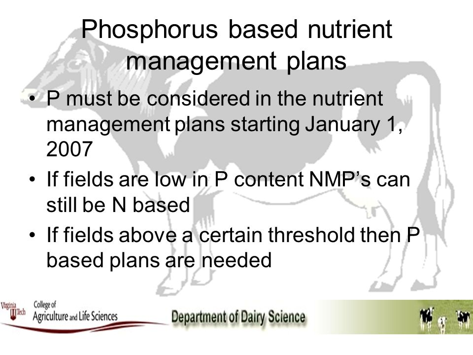Phosphorus based nutrient management plans P must be considered in the nutrient management plans starting January 1, 2007 If fields are low in P conte