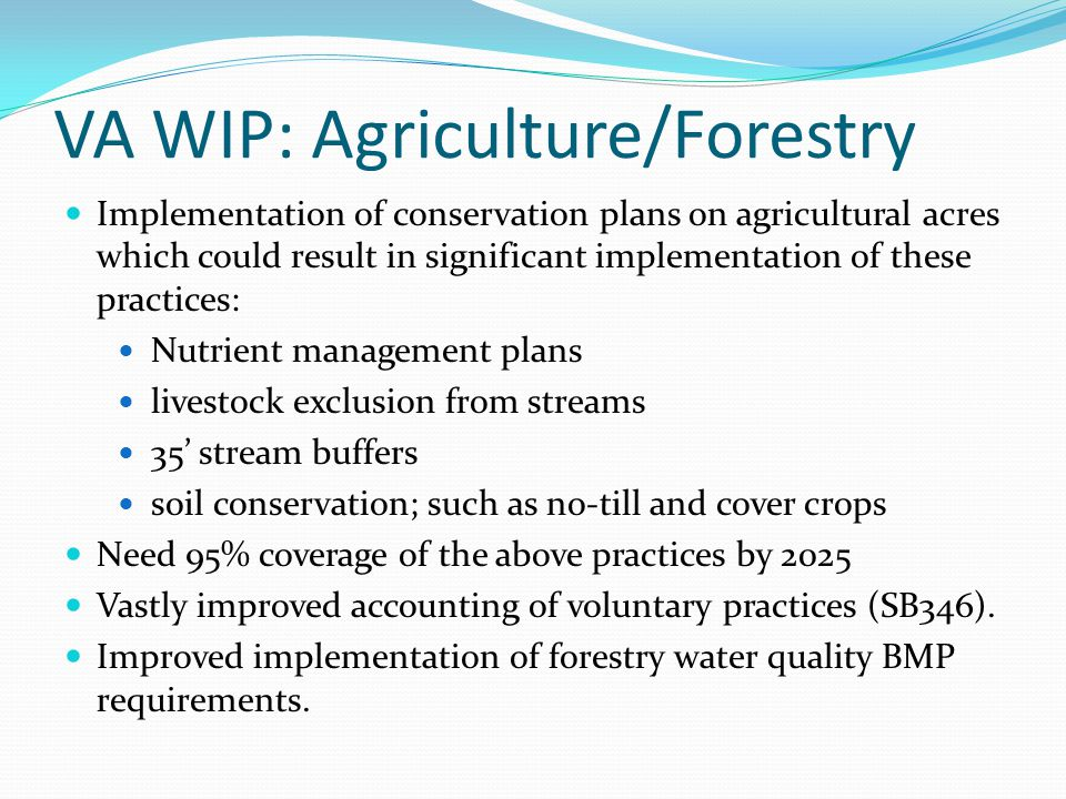 VA WIP: Agriculture/Forestry Implementation of conservation plans on agricultural acres which could result in significant implementation of these prac