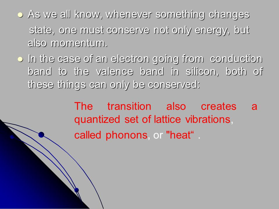 Phonons possess both energy and momentum.Phonons possess both energy and momentum.