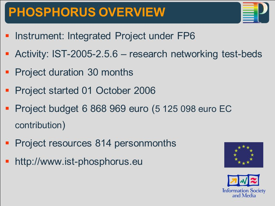 PHOSPHORUS OVERVIEW  Instrument: Integrated Project under FP6  Activity: IST-2005-2.5.6 – research networking test-beds  Project duration 30 months  Project started 01 October 2006  Project budget 6 868 969 euro ( 5 125 098 euro EC contribution )  Project resources 814 personmonths  http://www.ist-phosphorus.eu