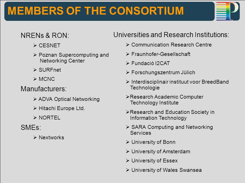 MEMBERS OF THE CONSORTIUM NRENs & RON:  CESNET  Poznan Supercomputing and Networking Center  SURFnet  MCNC Manufacturers:  ADVA Optical Networking  Hitachi Europe Ltd.