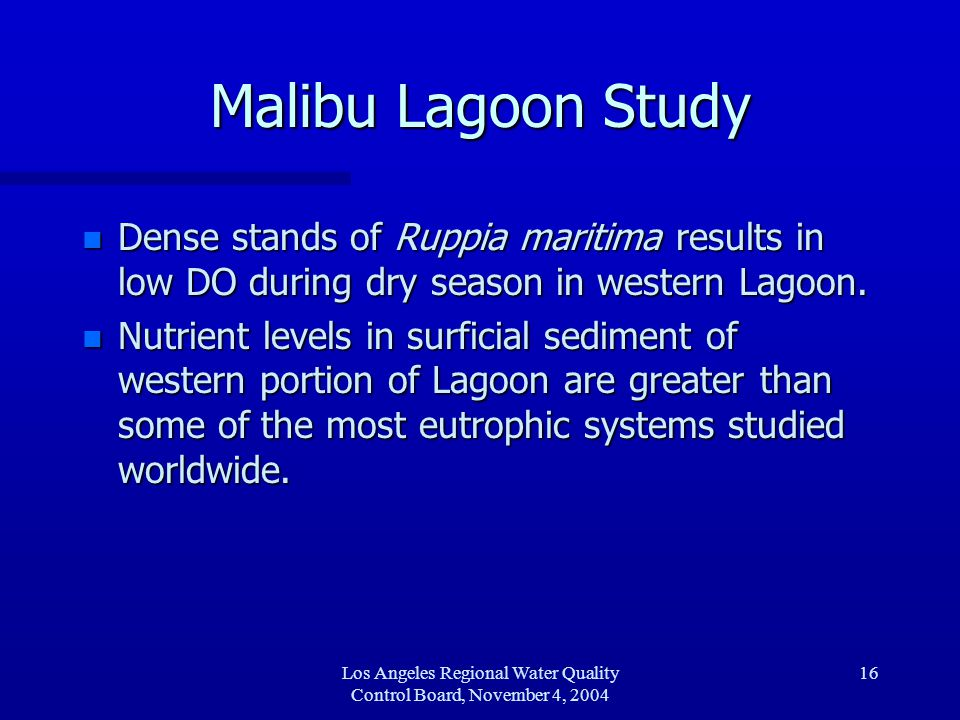 Los Angeles Regional Water Quality Control Board, November 4, 2004 16 Malibu Lagoon Study n Dense stands of Ruppia maritima results in low DO during d