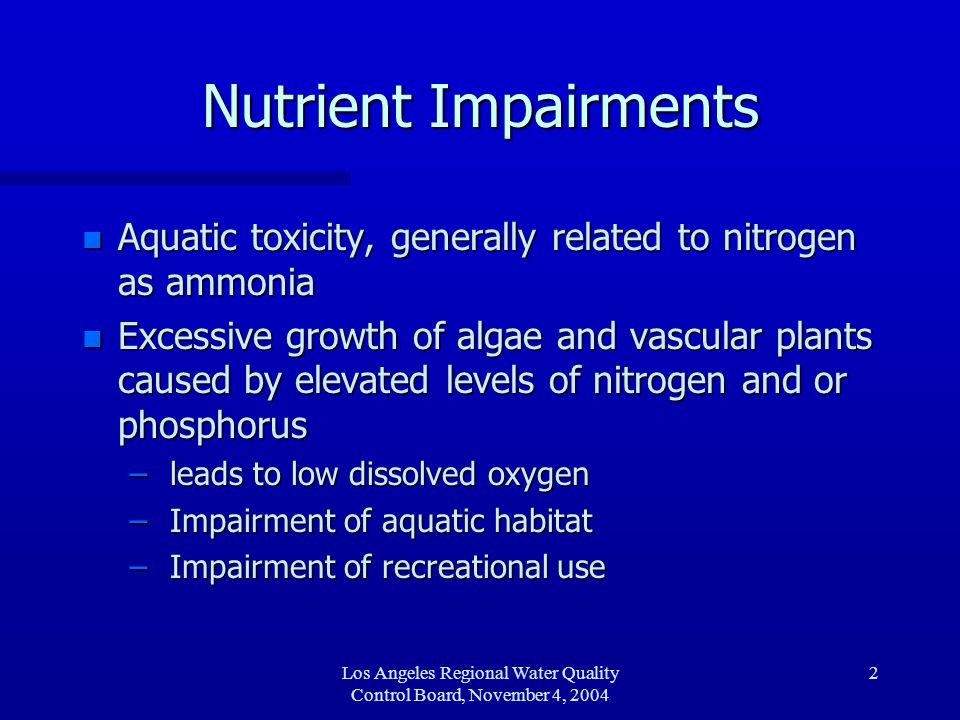 Los Angeles Regional Water Quality Control Board, November 4, 2004 2 Nutrient Impairments n Aquatic toxicity, generally related to nitrogen as ammonia