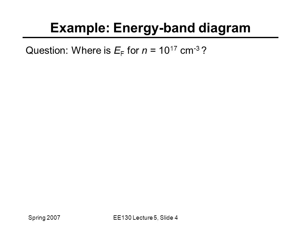 Spring 2007EE130 Lecture 5, Slide 4 Example: Energy-band diagram Question: Where is E F for n = 10 17 cm -3 ?