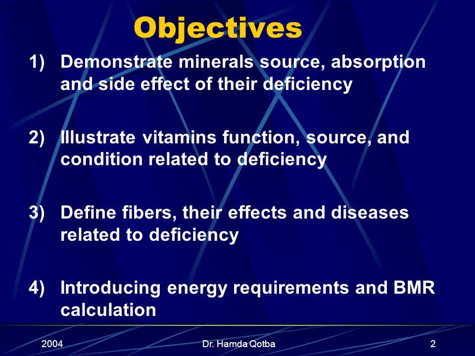 2004Dr. Hamda Qotba1 Mineral, Vitamins & Energy By Dr. Hamda Qotba, B.Med.Sc, M.D, ABCM