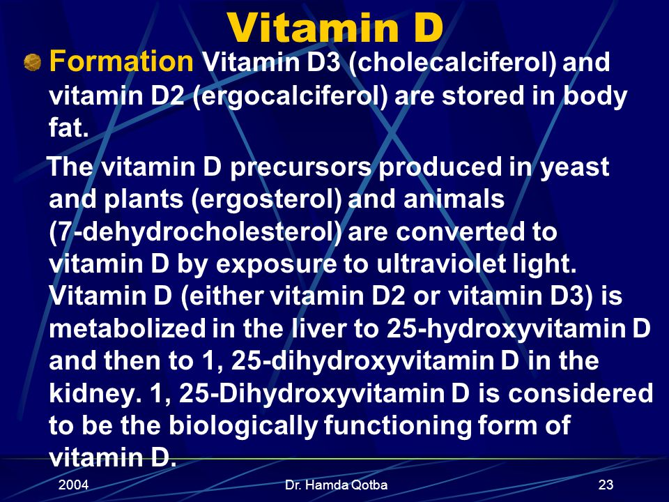 2004Dr. Hamda Qotba22 VITAMIN D Calciferol Function to increase the efficiency of intestinal calcium absorption and to mobilize calcium stores from bo