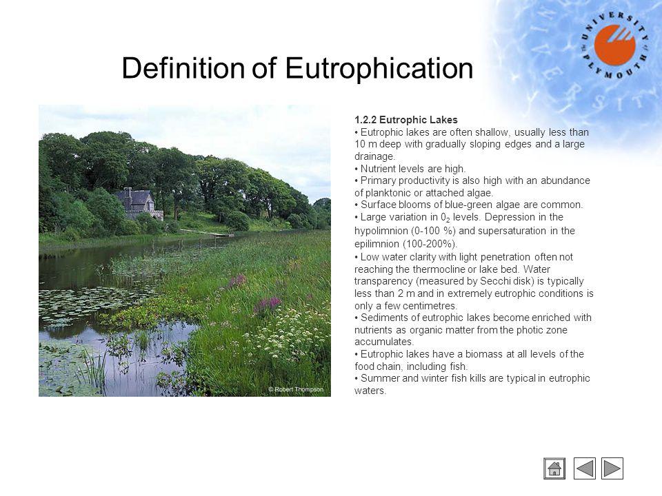 1.2.3 Mesotrophic Lakes Mesotrophic lakes are intermediate between oligotrophic and eutrophic lakes.