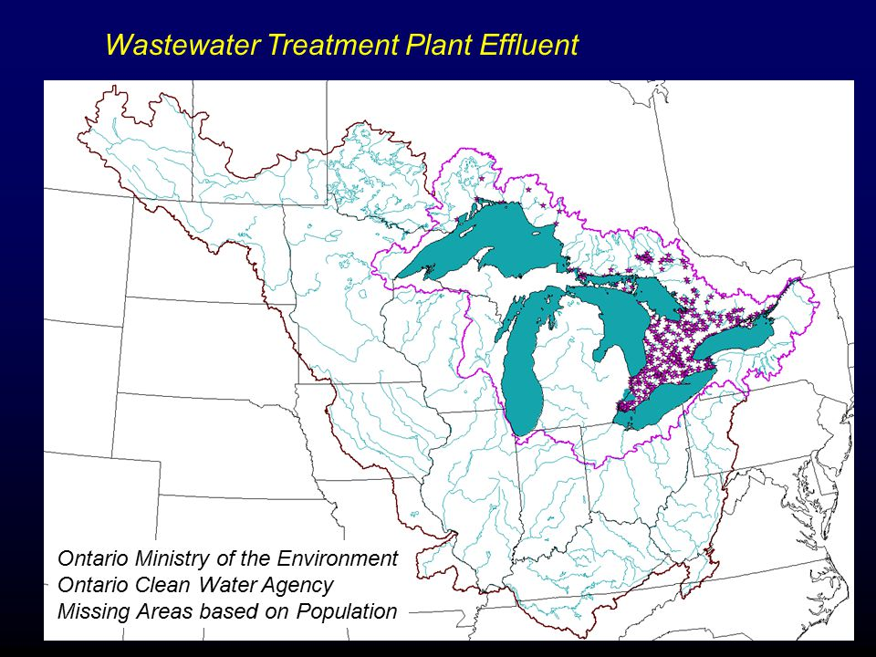 Wastewater Treatment Plant Effluent Ontario Ministry of the Environment Ontario Clean Water Agency Missing Areas based on Population