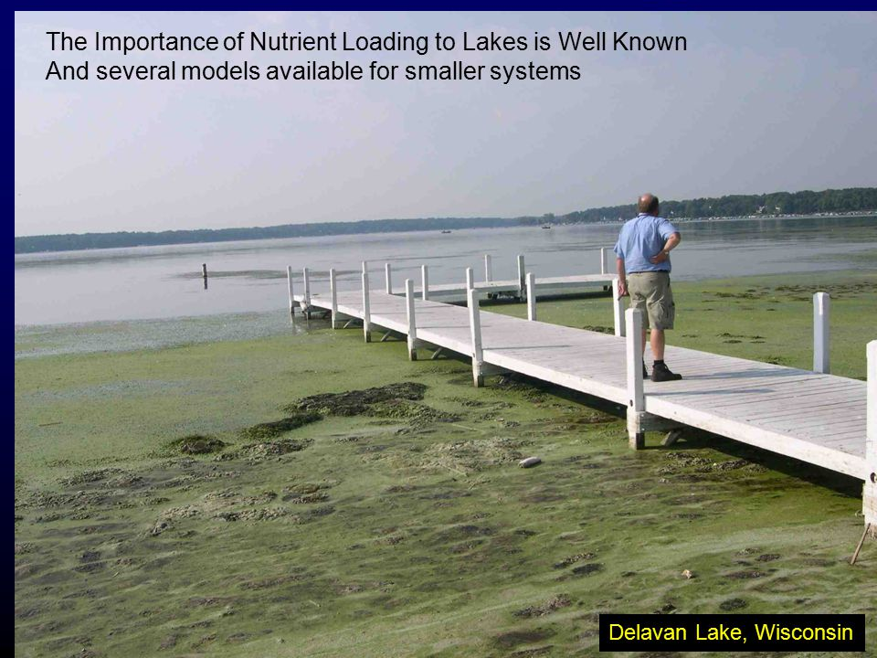 Delavan Lake, Wisconsin The Importance of Nutrient Loading to Lakes is Well Known And several models available for smaller systems