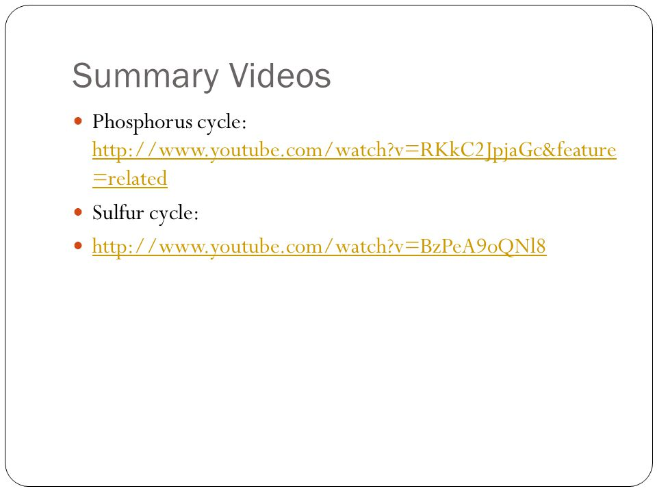 Summary Videos Phosphorus cycle: http://www.youtube.com/watch?v=RKkC2JpjaGc&feature =related http://www.youtube.com/watch?v=RKkC2JpjaGc&feature =relat