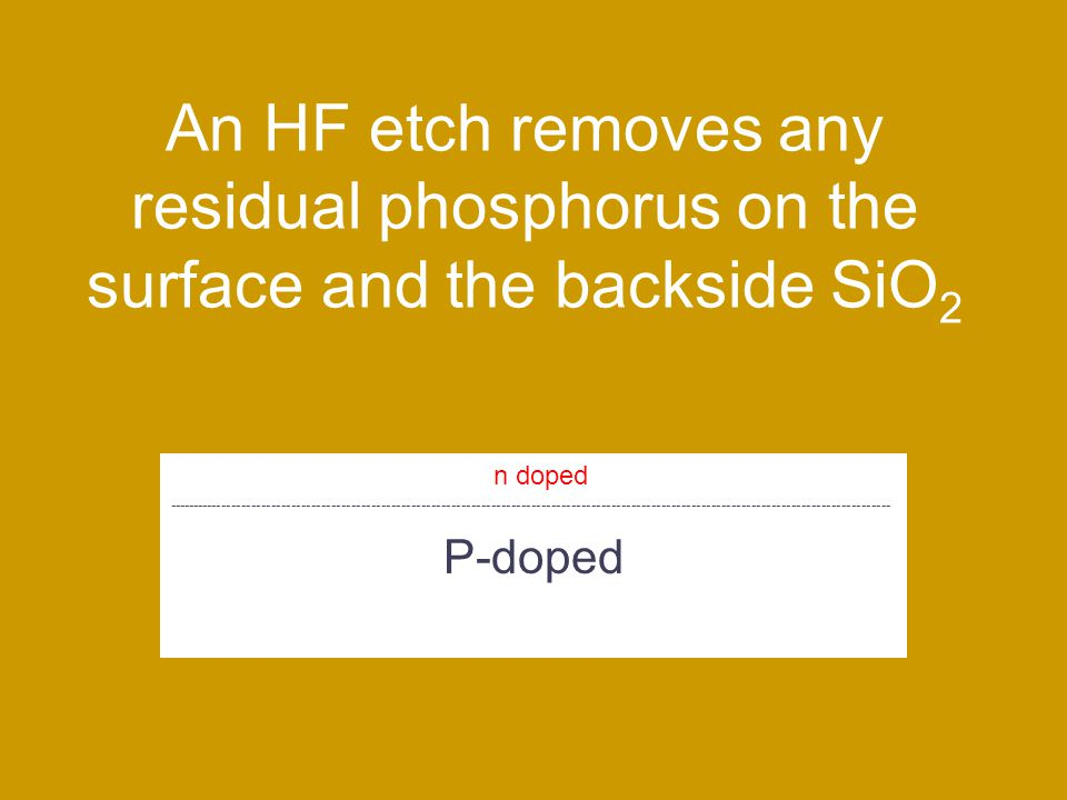 An HF etch removes any residual phosphorus on the surface and the backside SiO 2 P-doped n doped -------------------------------------------------------------------------------------------------------------------------------------------------