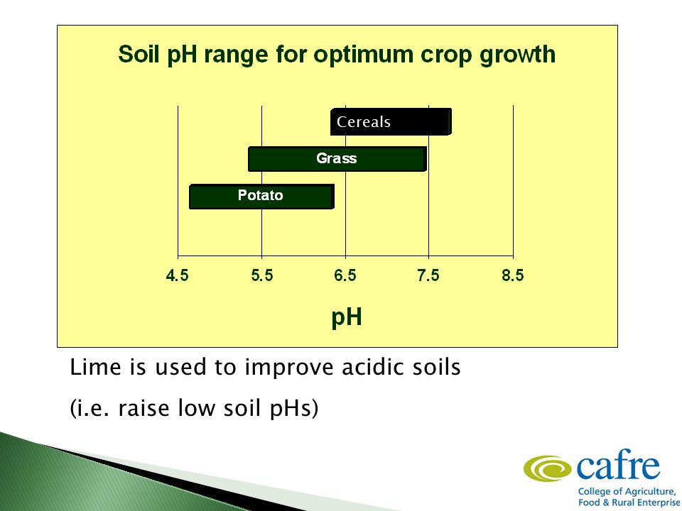 Lime is used to improve acidic soils (i.e. raise low soil pHs) Cereals