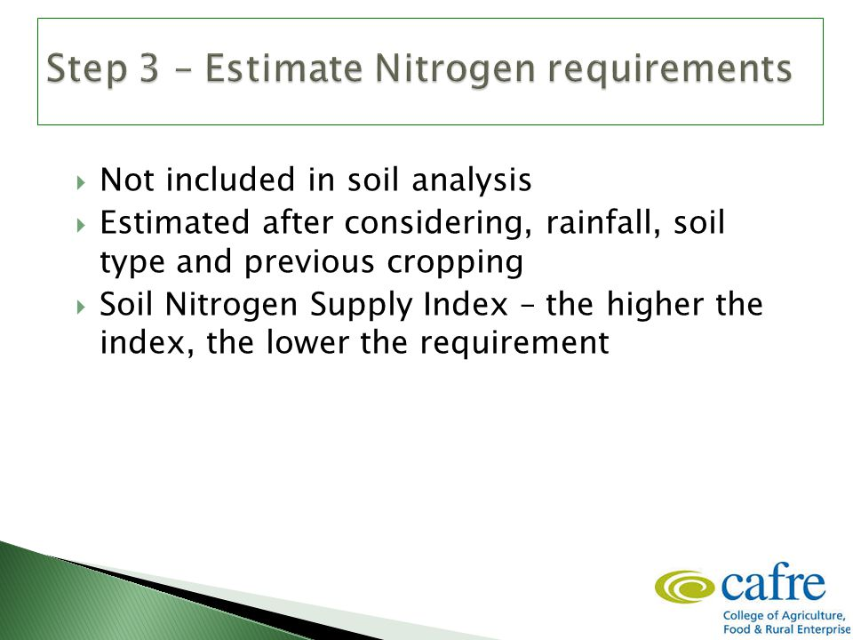  Not included in soil analysis  Estimated after considering, rainfall, soil type and previous cropping  Soil Nitrogen Supply Index – the higher the index, the lower the requirement