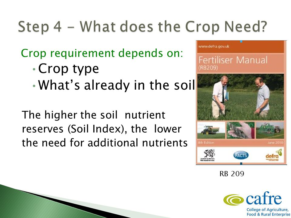 Crop requirement depends on: Crop type What's already in the soil The higher the soil nutrient reserves (Soil Index), the lower the need for additional nutrients RB 209