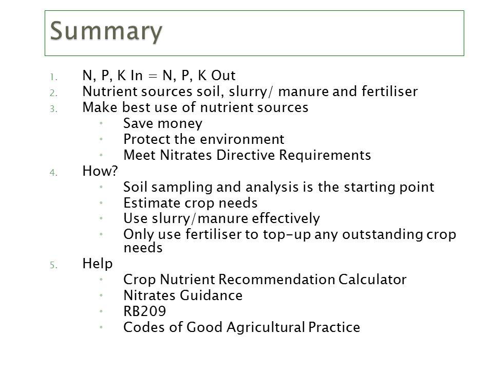 1. N, P, K In = N, P, K Out 2. Nutrient sources soil, slurry/ manure and fertiliser 3.