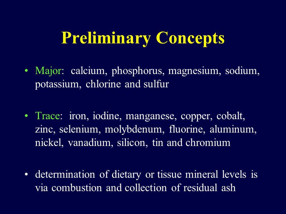 Preliminary Concepts Major: calcium, phosphorus, magnesium, sodium, potassium, chlorine and sulfur Trace: iron, iodine, manganese, copper, cobalt, zinc, selenium, molybdenum, fluorine, aluminum, nickel, vanadium, silicon, tin and chromium determination of dietary or tissue mineral levels is via combustion and collection of residual ash