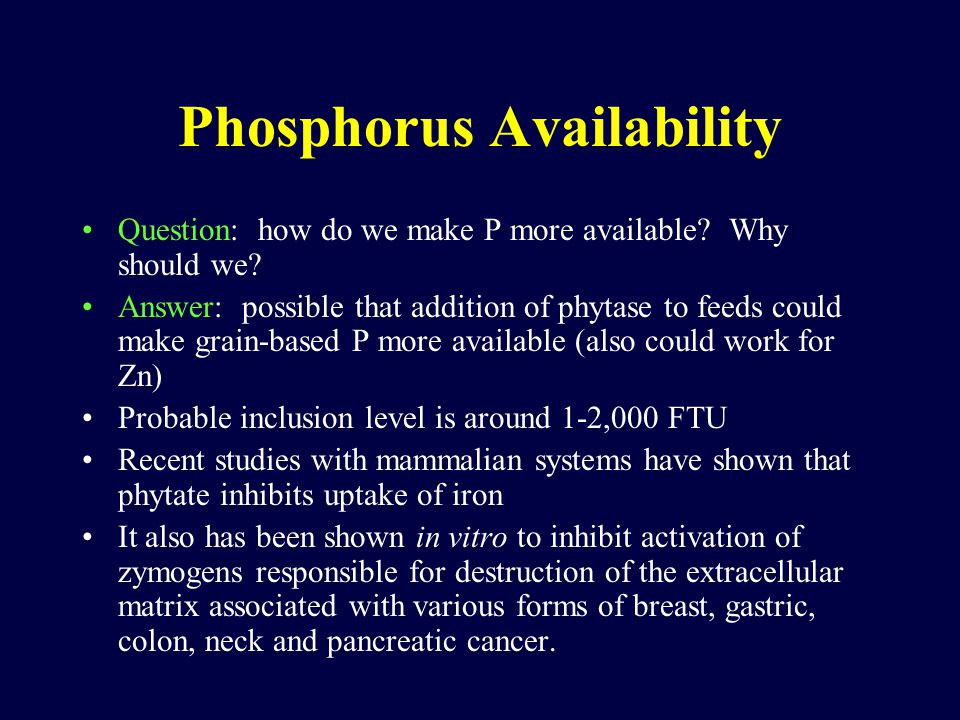 Phosphorus Availability Question: how do we make P more available.