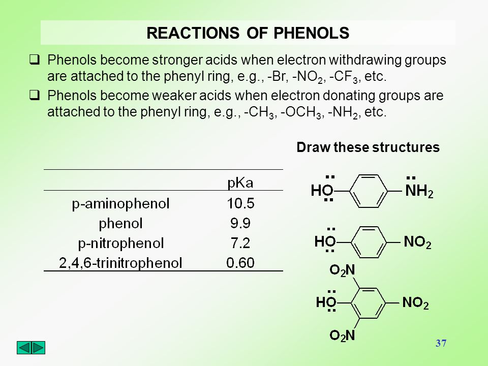 37 REACTIONS OF PHENOLS  Phenols become stronger acids when electron withdrawing groups are attached to the phenyl ring, e.g., -Br, -NO 2, -CF 3, etc