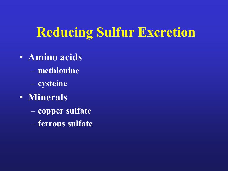 Reducing Sulfur Excretion Amino acids –methionine –cysteine Minerals –copper sulfate –ferrous sulfate