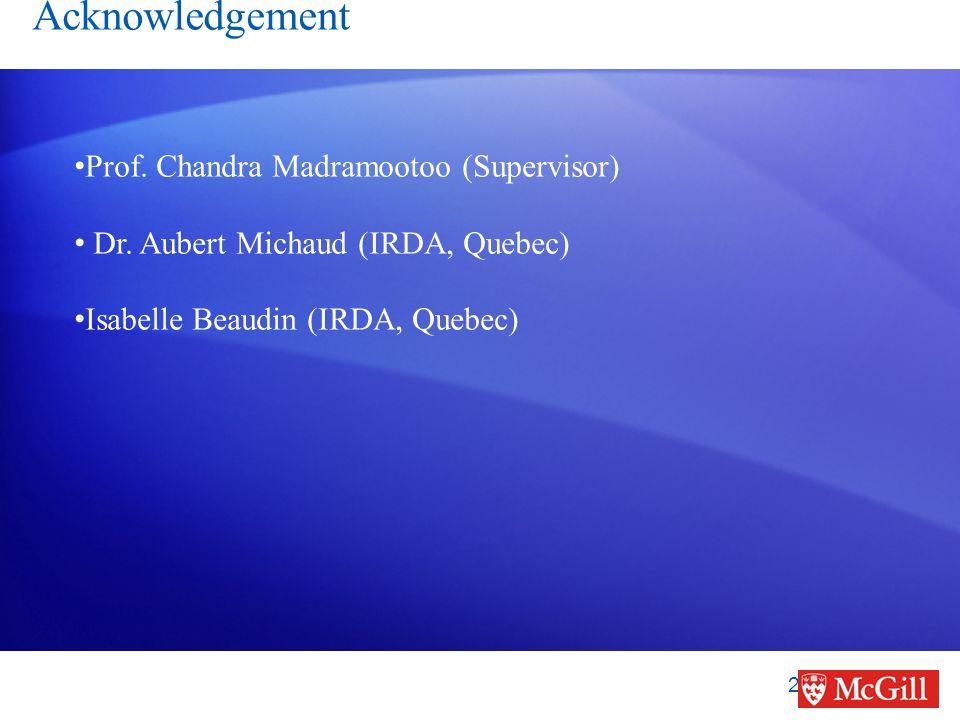 Acknowledgement 20 Prof. Chandra Madramootoo (Supervisor) Dr.