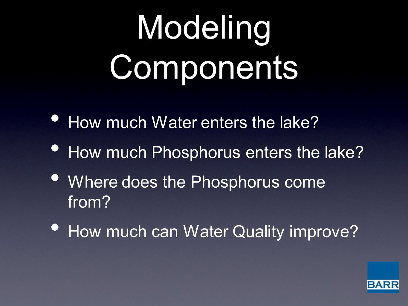 Modeling Components How much Water enters the lake.