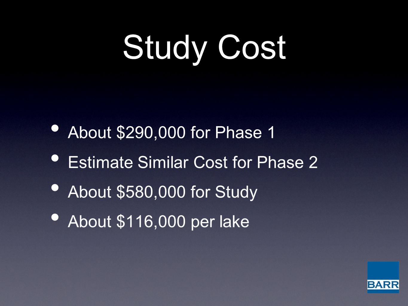 Study Cost About $290,000 for Phase 1 Estimate Similar Cost for Phase 2 About $580,000 for Study About $116,000 per lake