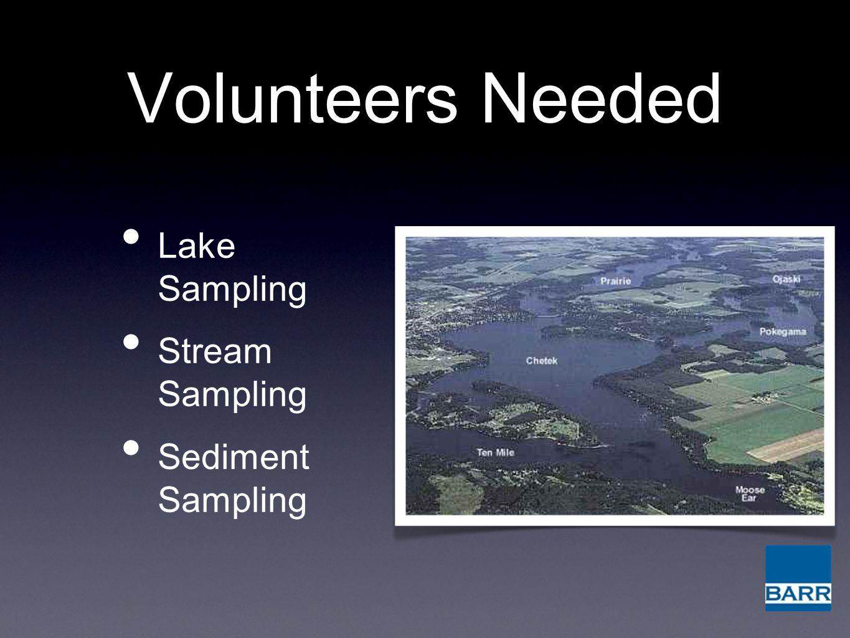 Volunteers Needed Lake Sampling Stream Sampling Sediment Sampling