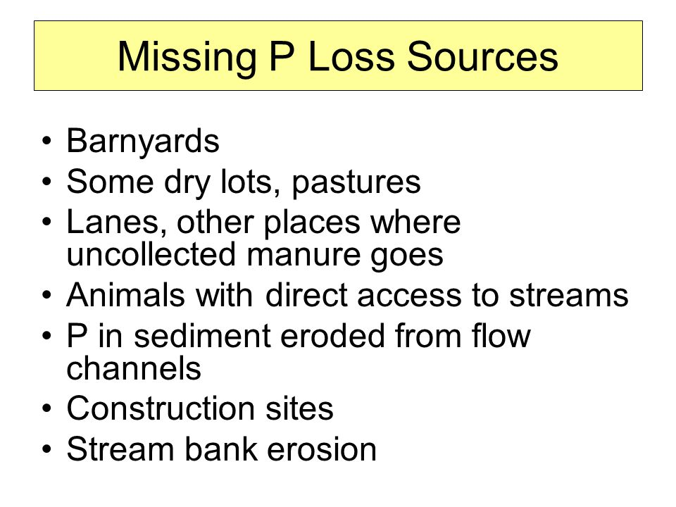 Missing P Loss Sources Barnyards Some dry lots, pastures Lanes, other places where uncollected manure goes Animals with direct access to streams P in sediment eroded from flow channels Construction sites Stream bank erosion