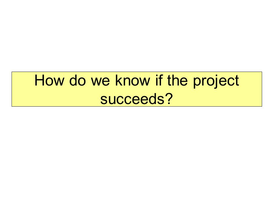 How do we know if the project succeeds?