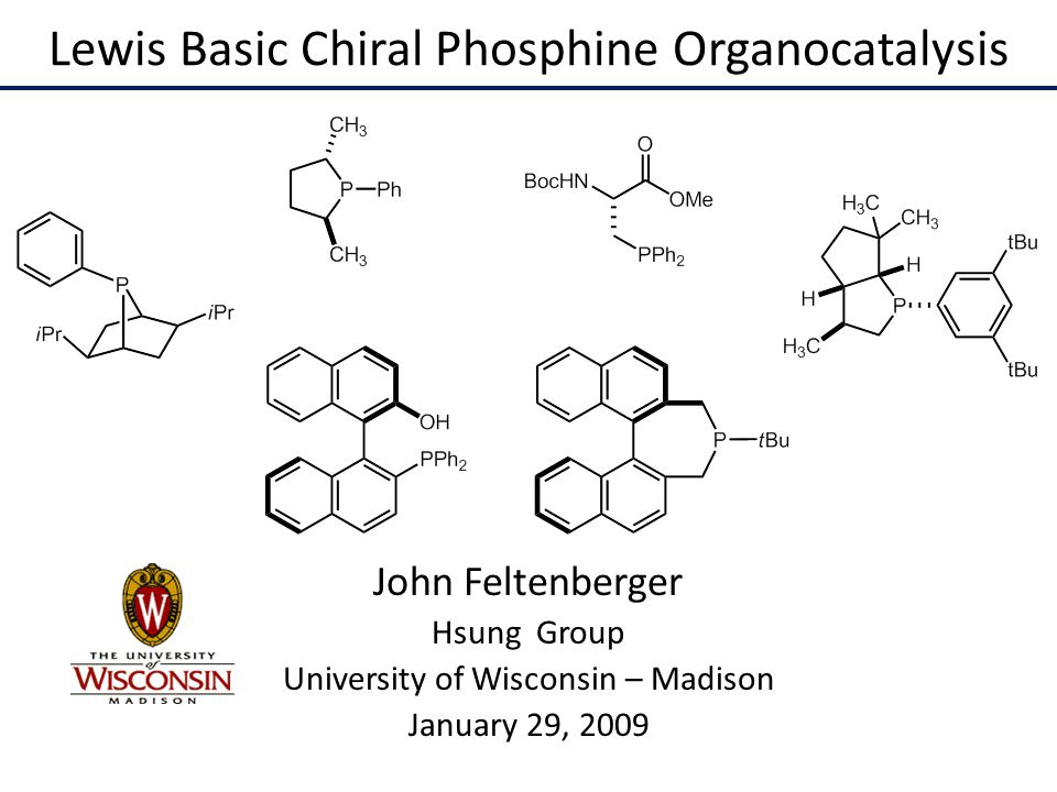 Lewis Basic Chiral Phosphine Organocatalysis John Feltenberger Hsung Group University of Wisconsin – Madison January 29, 2009